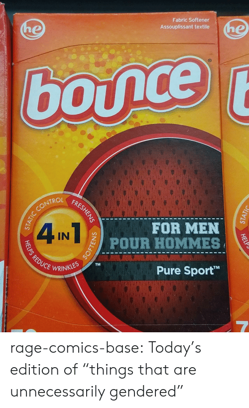 """Trol: Fabric Softener  Assouplissant textile  TROL  FOR MEN  CEWRINKLESTM  Pure Sport  TM rage-comics-base:  Today's edition of """"things that are unnecessarily gendered"""""""