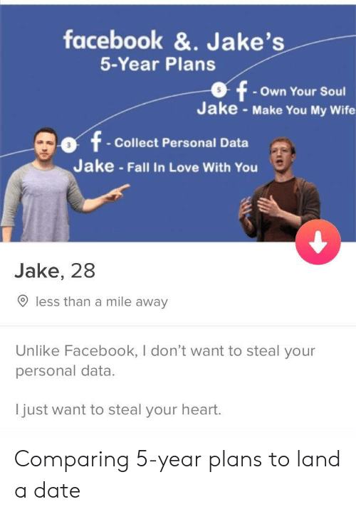 Facebook, Fall, and Love: facebook &. Jake's  5-Year Plans  - Own Your Soul  Jake - Make You My Wife  t Collect Personal Data  Jake - Fall In Love With You  Jake, 28  O less than a mile away  Unlike Facebook, I don't want to steal your  personal data.  I  just want to steal your heart  . Comparing 5-year plans to land a date