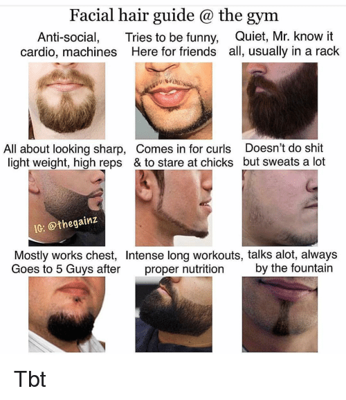 Friends, Funny, and Gym: Facial hair guide @ the gym  Anti-social, Tries to be funny, Quiet, Mr. know it  cardio, machines Here for friends all, usually in a rack  All about looking sharp, Comes in for curls Doesn't do shit  light weight, high reps & to stare at chicks but sweats a lot  IC: @thegainz  Mostly works chest, Intense long workouts, talks alot, always  Goes to 5 Guys after proper nutrition by the fountain Tbt