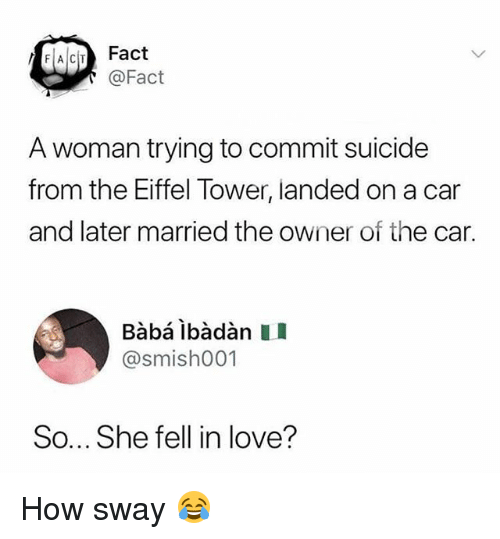 How Sway: FACITFact  @Fact  A woman trying to commit suicide  from the Eiffel Tower, landed on a car  and later married the owner of the car.  Bàbá ibàdàn I  @smishO01  So... She fell in love? How sway 😂