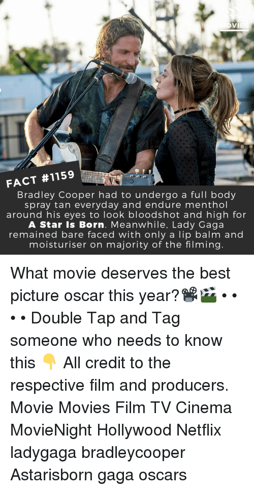 Lady Gaga, Memes, and Movies: FACT #1159  Bradley Cooper had to undergo a full body  spray tan everyday and endure menthol  around his eyes to look bloodshot and high for  A Star Is Born. Meanwhile, Lady Gaga  remained bare faced with only a lip balm and  moisturiser on majority of the filming What movie deserves the best picture oscar this year?📽️🎬 • • • • Double Tap and Tag someone who needs to know this 👇 All credit to the respective film and producers. Movie Movies Film TV Cinema MovieNight Hollywood Netflix ladygaga bradleycooper Astarisborn gaga oscars