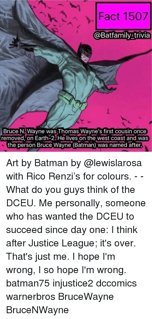 Wayned: Fact 1507  @Bat family trivia  Bruce N Wayne was Thomas Wayne's first cousin once  removed on Earth He lives on the west coast and was  the person Bruce Wayne (Batman) was named after, Art by Batman by @lewislarosa with Rico Renzi's for colours. - - What do you guys think of the DCEU. Me personally, someone who has wanted the DCEU to succeed since day one: I think after Justice League; it's over. That's just me. I hope I'm wrong, I so hope I'm wrong. batman75 injustice2 dccomics warnerbros BruceWayne BruceNWayne