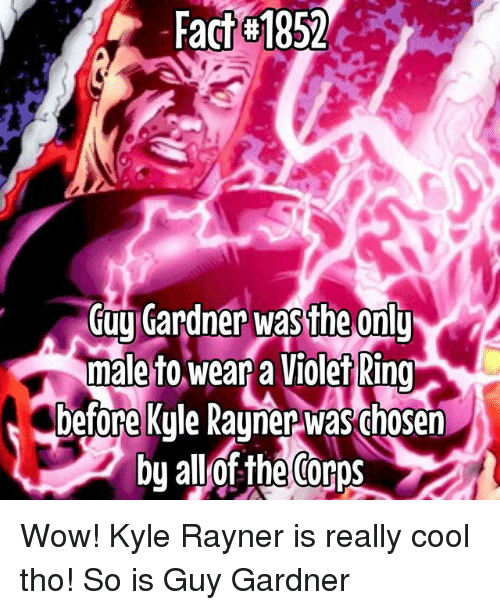 Kylee: Fact 1852  GujCardner w  male to wear a Violet Ring  eonl Wow! Kyle Rayner is really cool tho! So is Guy Gardner