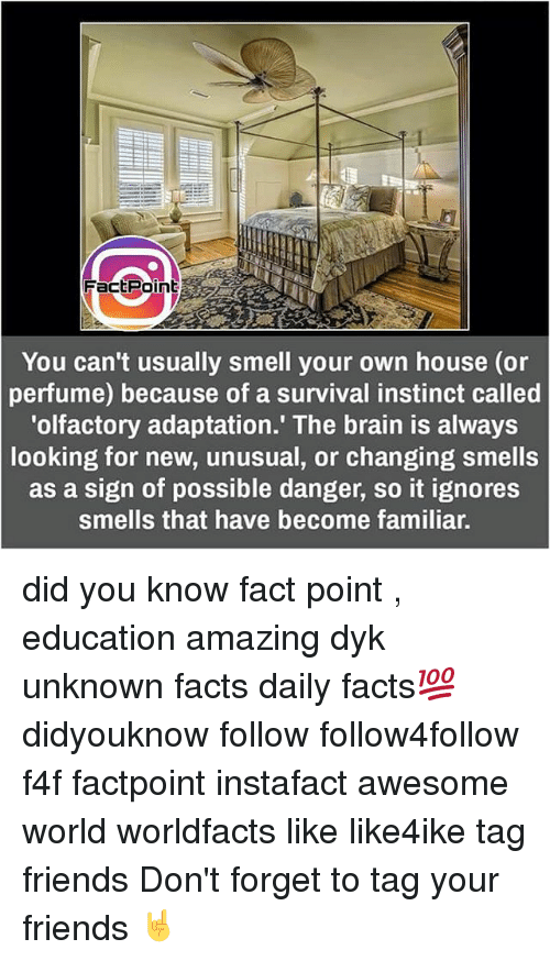 Ignorancy: Fact Point  You can't usually smell your own house (or  perfume) because of a survival instinct called  'olfactory adaptation.' The brain is always  looking for new, unusual, or changing smells  as a sign of possible danger, so it ignores  smells that have become familiar. did you know fact point , education amazing dyk unknown facts daily facts💯 didyouknow follow follow4follow f4f factpoint instafact awesome world worldfacts like like4ike tag friends Don't forget to tag your friends 🤘