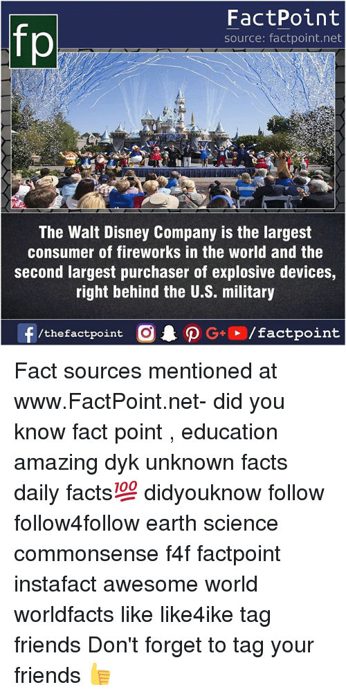 earthing: FactPoint  source: factpoint.net  The Walt Disney Company is the largest  consumer of fireworks in the world and the  second largest purchaser of explosive devices,  right behind the U.S. military Fact sources mentioned at www.FactPoint.net- did you know fact point , education amazing dyk unknown facts daily facts💯 didyouknow follow follow4follow earth science commonsense f4f factpoint instafact awesome world worldfacts like like4ike tag friends Don't forget to tag your friends 👍