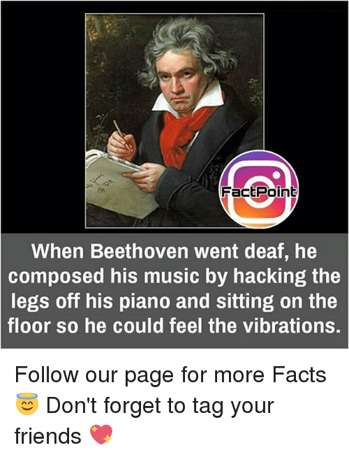 Facts, Friends, and Memes: FactPoint  When Beethoven went deaf, he  composed his music by hacking the  legs off his piano and sitting on the  floor so he could feel the vibrations. Follow our page for more Facts 😇 Don't forget to tag your friends 💖