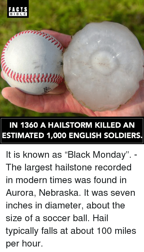 "Anaconda, Facts, and Memes: FACTS  BIBLE  BIBLE  IN 1360 A HAILSTORM KILLED AN  ESTIMATED 1,000 ENGLISH SOLDIERS. It is known as ""Black Monday"". - The largest hailstone recorded in modern times was found in Aurora, Nebraska. It was seven inches in diameter, about the size of a soccer ball. Hail typically falls at about 100 miles per hour."