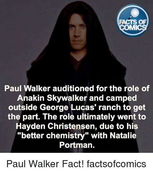 """Anakin Skywalker: FACTS OF  MMI  Paul Walker auditioned for the role of  Anakin Skywalker and camped  outside George Lucas' ranch to get  the part. The role ultimately went to  Hayden Christensen, due to his  """"better chemistry"""" with Natalie  Portman. Paul Walker Fact! factsofcomics"""