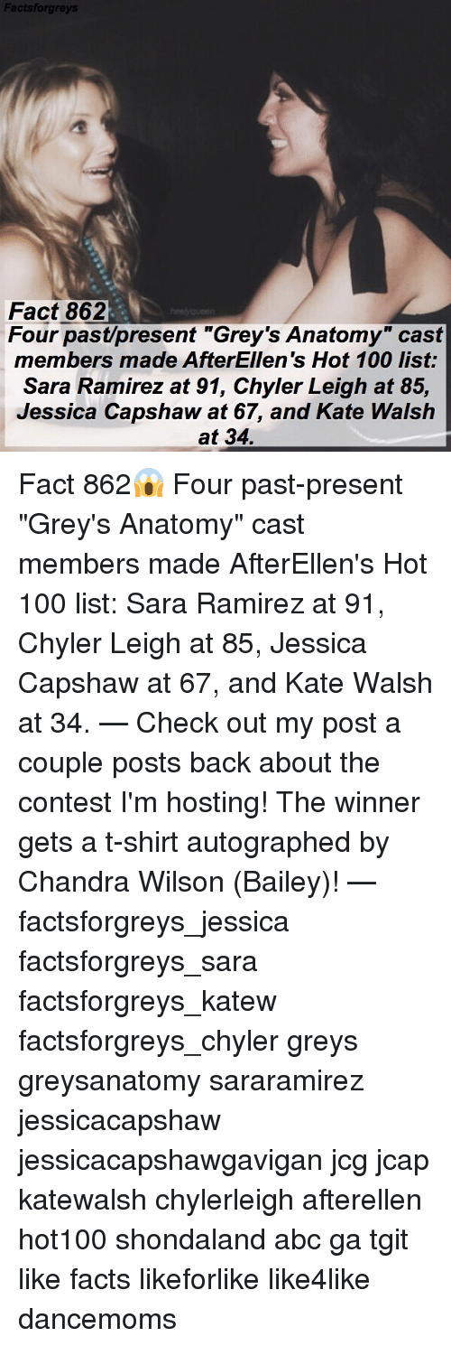 "Abc, Anaconda, and Facts: Factsforgre  Fact 862  Four past/present ""Grey's Anatomy"" cast  members made AfterEllen's Hot 100 list:  Sara Ramirez at 91, Chyler Leigh at 85,  Jessica Capshaw at 67, and Kate Walsh  at 34. Fact 862😱 Four past-present ""Grey's Anatomy"" cast members made AfterEllen's Hot 100 list: Sara Ramirez at 91, Chyler Leigh at 85, Jessica Capshaw at 67, and Kate Walsh at 34. — Check out my post a couple posts back about the contest I'm hosting! The winner gets a t-shirt autographed by Chandra Wilson (Bailey)! — factsforgreys_jessica factsforgreys_sara factsforgreys_katew factsforgreys_chyler greys greysanatomy sararamirez jessicacapshaw jessicacapshawgavigan jcg jcap katewalsh chylerleigh afterellen hot100 shondaland abc ga tgit like facts likeforlike like4like dancemoms"
