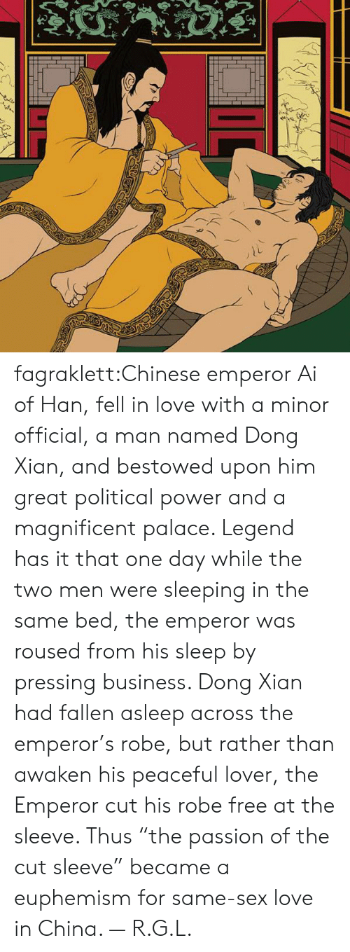 """The Emperor: fagraklett:Chinese emperor Ai of Han, fell in love with a minor official, a man named Dong Xian, and bestowed upon him great political power and a magnificent palace. Legend has it that one day while the two men were sleeping in the same bed, the emperor was roused from his sleep by pressing business. Dong Xian had fallen asleep across the emperor's robe, but rather than awaken his peaceful lover, the Emperor cut his robe free at the sleeve. Thus """"the passion of the cut sleeve"""" became a euphemism for same-sex love in China. — R.G.L."""