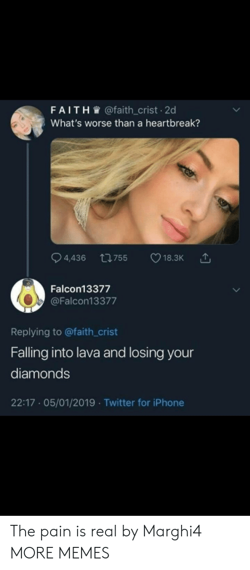 diamonds: FAITH @faith_crist 2d  What's worse than a heartbreak?  ti755  4,436  18.3K  Falcon13377  @Falcon13377  Replying to @faith_crist  Falling into lava and losing your  diamonds  22:17 05/01/2019 Twitter for iPhone The pain is real by Marghi4 MORE MEMES