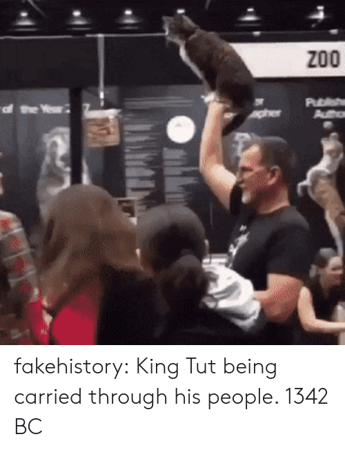 Tumblr, Blog, and King Tut: fakehistory:  King Tut being carried through his people. 1342 BC