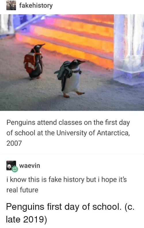 Fake, Future, and School: fakehistory  Penguins attend classes on the first day  of school at the University of Antarctica,  2007  waevin  i know this is fake history but i hope it's  real future Penguins first day of school. (c. late 2019)