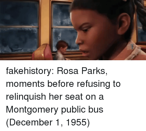 Rosa Parks: fakehistory:  Rosa Parks, moments before refusing to relinquish her seat on a Montgomery public bus (December 1, 1955)