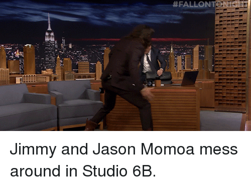 Target, youtube.com, and Jason Momoa:  #FALLONE  N at Jimmy and Jason Momoa mess around in Studio 6B.
