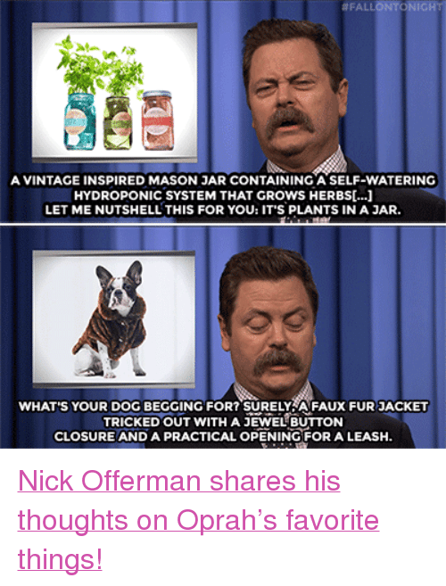 "Nick Offerman, Oprah Winfrey, and Target:  #FALLONTONIG  A VINTAGE INSPIRED MASON JAR CONTAINING A SELF-WATERING  HYDROPONIC SYSTEM THAT GROWS HERBS[...]  LET ME NUTSHELL THIS FOR YOU: IT'S PLANTS IN A JAR.  WHAT'S YOUR DOG BEGGING FOR? SURELYA FAUX FUR JACKET  TRICKED OUT WITH A JEWEL BUTTON  CLOSURE AND A PRACTICAL OPENING FOR A LEASH. <p><a href=""https://www.youtube.com/watch?v=4K-ops4JwUA"" target=""_blank"">Nick Offerman shares his thoughts on Oprah's favorite things!</a></p>"