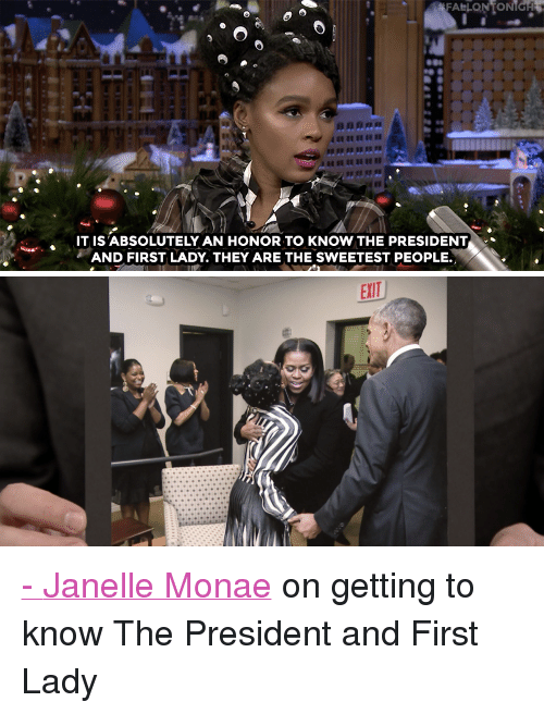 """Obama, Target, and Twitter: FALLONTONIGH  IT IS'ABSOLUTELY AN HONOR TO KNOW THE PRESIDENT  AND FIRST LADY. THEY ARE THE SWEETEST PEOPLE. <p><a href=""""http://www.nbc.com/the-tonight-show/video/janelle-monae-knows-president-obama-and-first-lady-michelle/3443928"""" target=""""_blank"""">-</a><a href=""""https://twitter.com/JanelleMonae"""" target=""""_blank"""">Janelle Monae</a> on getting to know The President and First Lady<br/></p>"""