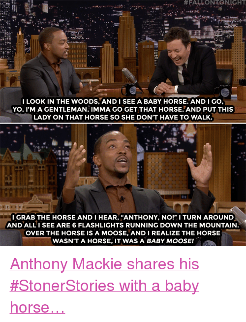 """the mountain:  #FALLONTONIGHT  I LOOK IN THE WOODS, ANDISEE A BABY HORSE. AND I GO,  YO, I'M A GENTLEMAN, IMMA GO GET THAT HORSE AND PUT THIS  LADY ON THAT HORSE SO SHE DON'T HAVE TO WALK.  LB  I GRAB THE HORSE AND I HEAR, """"ANTHONY, NO!"""" I TURN AROUND  AND ALLI SEE ARE 6 FLASHLIGHTS RUNNING DOWN THE MOUNTAIN  OVER THE HORSE IS A MOOSE, ANDI REALIZE THE HORSE  WASN'T A HORSE, IT WAS A BABY MOOSE! <p><a href=""""https://www.youtube.com/watch?v=4m2JSlOuQu8"""" target=""""_blank"""">Anthony Mackie shares his #StonerStories with a baby horse&hellip;</a></p>"""