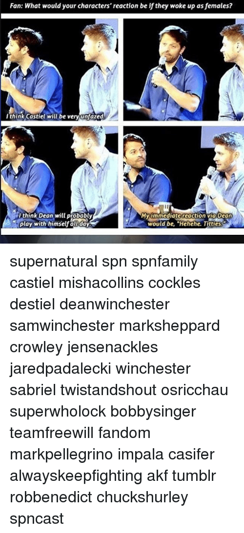 "Memes, Titties, and Tumblr: Fan: What would your characters' reaction be if they woke up asfemales?  I think Castiel will be very unfazed  Ithink Dean will probably  MV1mmediate reaction via Dean  Play with himself all day  would be, ""Hehehe. Titties. supernatural spn spnfamily castiel mishacollins cockles destiel deanwinchester samwinchester marksheppard crowley jensenackles jaredpadalecki winchester sabriel twistandshout osricchau superwholock bobbysinger teamfreewill fandom markpellegrino impala casifer alwayskeepfighting akf tumblr robbenedict chuckshurley spncast"