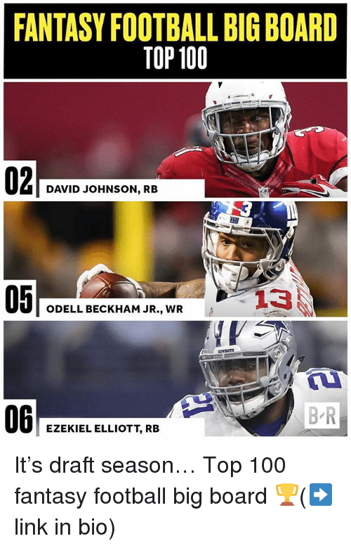 Fantasy football: FANTASY FOOTBALL BIG BOARD  TOP 100  DAVID JOHNSON, RB  05  ODELL BECKHAM JR., WR  06  B R  EZEKIEL ELLIOTT, RB It's draft season… Top 100 fantasy football big board 🏆(➡️link in bio)