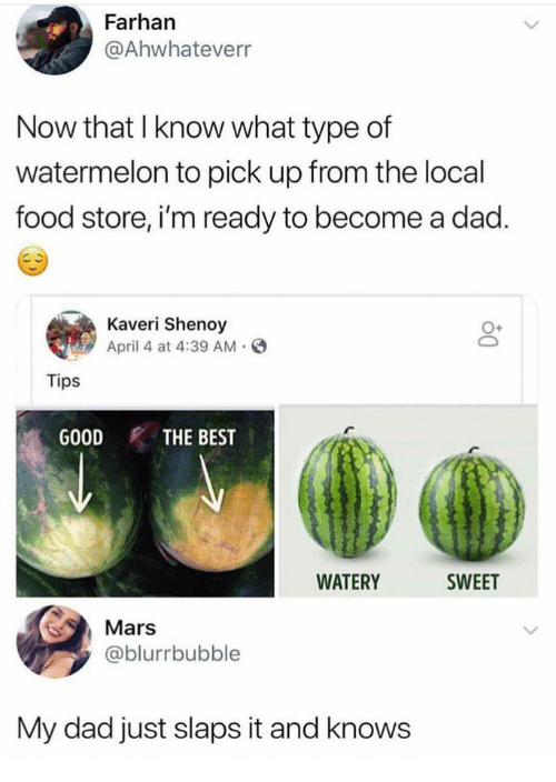 Dad, Food, and Best: Farhan  @Ahwhateverr  Now that I know what type of  watermelon to pick up from the local  food store, i'm ready to become a dad.  Kaveri Shenoy  April 4 at 4:39 AM.  O+  Tips  GOOD THE BEST  WATERY  SWEET  Mars  @blurrbubble  My dad just slaps it and knows