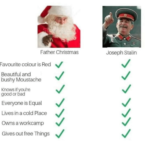 Bad, Beautiful, and Christmas: Father Christmas  Joseph Stalin  Favourite colour is Red  Beautiful and  bushy Moustache  Knows if you're  good or bad  Everyone is Equal  Lives in a cold Place  Owns a workcamp  Gives out free Things  »>>>>>