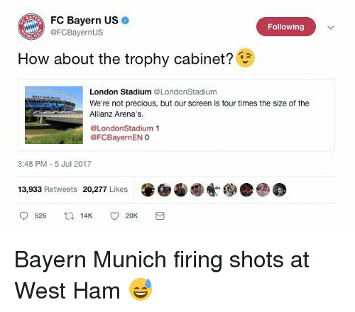 allianz: FC Bayern US  FCBayernUS  Following  How about the trophy cabinet?  London Stadium @LondonStadium  We're not precious, but our screen is four times the size of the  Allianz Arena's.  @LondonStadium 1  @FCBayernEN O  3:48 PM 5 Jul 2017  13,933 Retweets 20,277 Likes Bayern Munich firing shots at West Ham 😅
