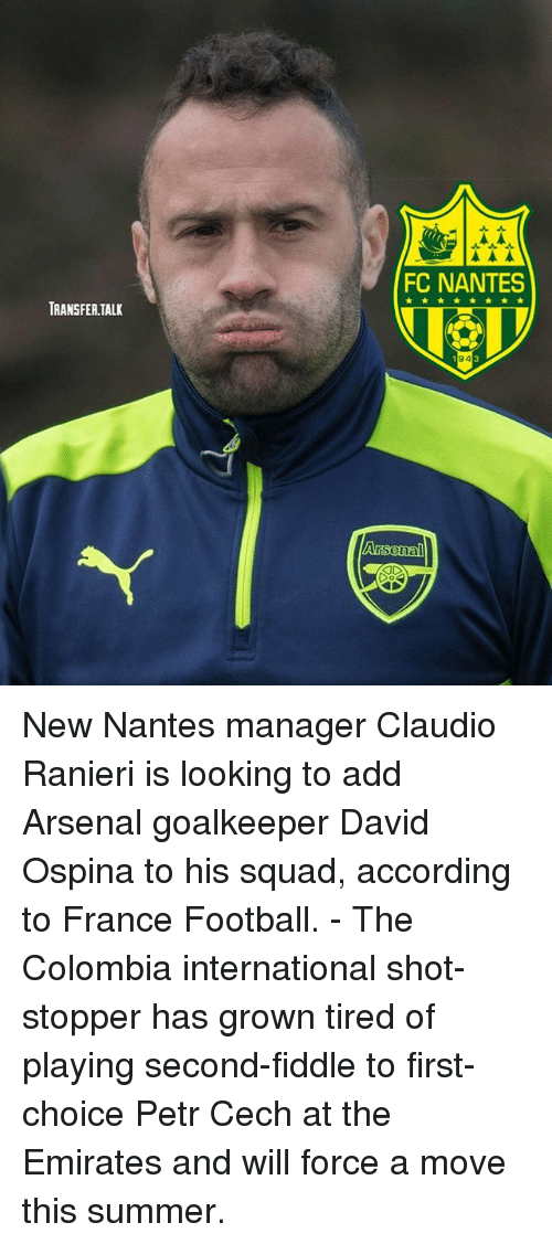Ranieri: FC NANTES  TRANSFER.TALK  94 New Nantes manager Claudio Ranieri is looking to add Arsenal goalkeeper David Ospina to his squad, according to France Football. - The Colombia international shot-stopper has grown tired of playing second-fiddle to first-choice Petr Cech at the Emirates and will force a move this summer.