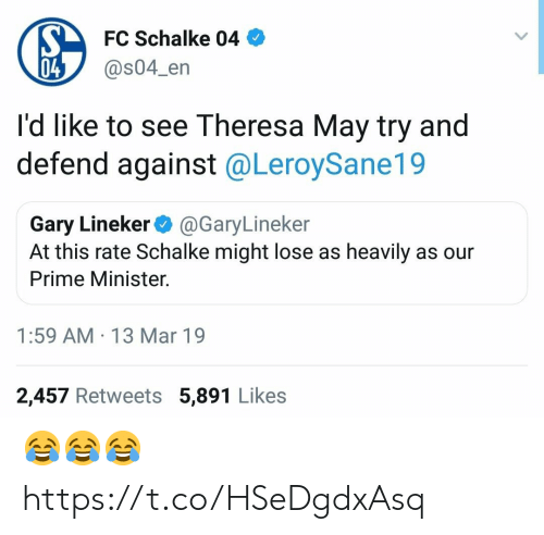 prime minister: FC Schalke 04  @s04_en  04  I'd like to see Theresa May try and  defend against @LeroySane19  Gary Lineker@GaryLineker  At this rate Schalke might lose as heavily as our  Prime Minister.  1:59 AM 13 Mar 19  2,457 Retweets 5,891 Likes 😂😂😂 https://t.co/HSeDgdxAsq