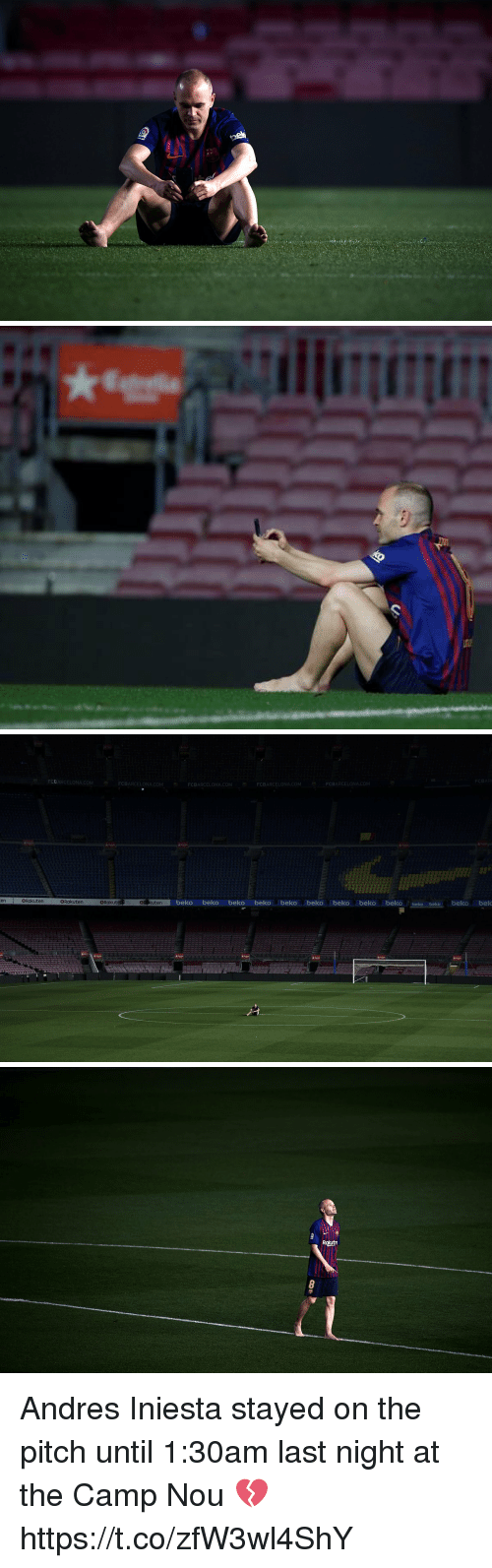 iniesta: FCBARCELONA.COM  FCBARCELONA.COM  FCBARCELONA.COM  FCBARCELONA.COM  FCBARCELONA.COM  enRakuten  eR kuten  beko beko beko beko beko beko beko beko beko beko beko beko bek  BRakuten  @Rakut   Rautn Andres Iniesta stayed on the pitch until 1:30am last night at the Camp Nou 💔 https://t.co/zfW3wl4ShY