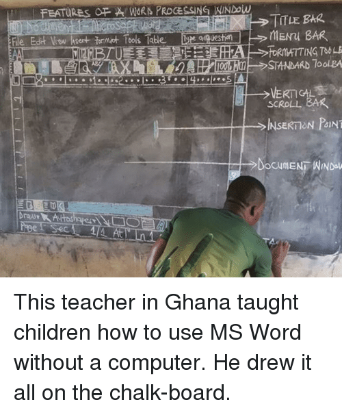 Children, Teacher, and Computer: FEATURES FWORN PROCESSING NINDow  TITLE BAR  le Edit Vow hsert formt Tools Tabe  qquesti  STANDARD 7oolBA  SCROLL BAR  、  INSERT ON PANT  At This teacher in Ghana taught children how to use MS Word without a computer. He drew it all on the chalk-board.