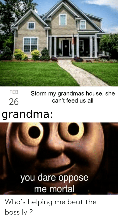 dare: FEB  Storm my grandmas house, she  26  can't feed us all  grandma:  you dare oppose  me mortal Who's helping me beat the boss lvl?