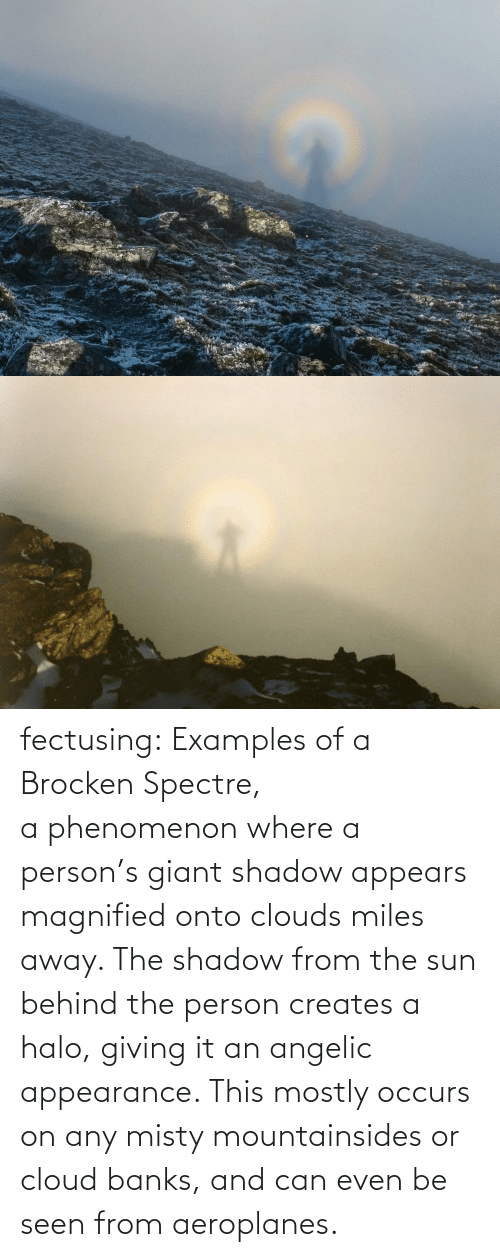 seen: fectusing: Examples of a Brocken Spectre, a phenomenon where a person's giant shadow appears magnified onto clouds miles away. The shadow from the sun behind the person creates a halo, giving it an angelic appearance. This mostly occurs on any misty mountainsides or cloud banks, and can even be seen from aeroplanes.