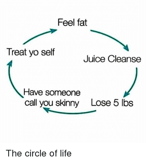 Treat Yo Self: Feel fat  Treat yo self  Juice Cleanse  Have someone  call you skinny  Lose 5 lbs The circle of life
