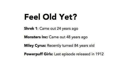 84 Years: Feel Old Yet?  Shrek 1: Came out 24 years ago  Monsters Inc: Came out 48 years ago  Miley Cyrus: Recently turned 84 years old  Powerpuff Girls: Last episode released in 1912