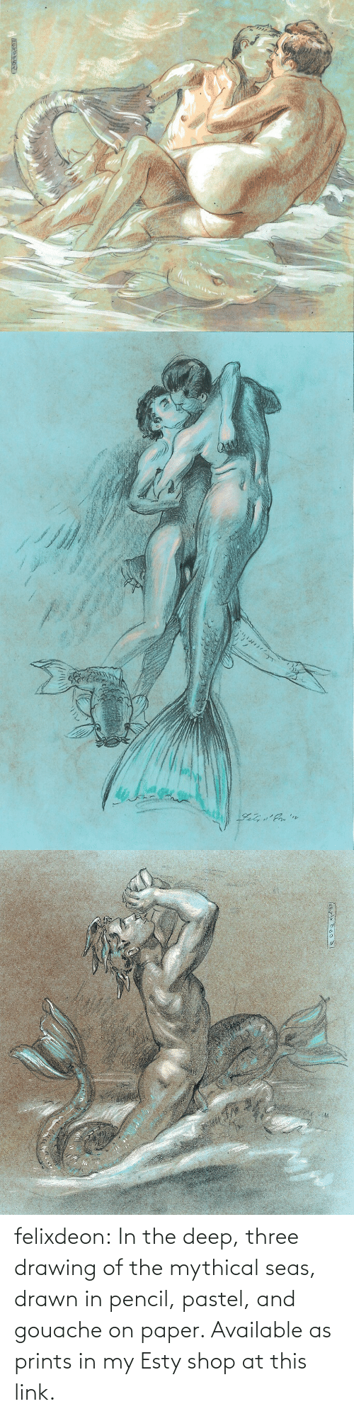 Pencil: felixdeon:  In the deep, three drawing of the mythical seas, drawn in pencil, pastel, and gouache on paper. Available as prints in my Esty shop at this link.