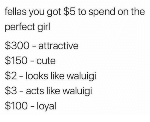 Anaconda, Cute, and Perfect Girl: fellas you got $5 to spend on the  perfect girl  $300 attractive  $150 cute  $2 looks like waluigi  $3 - acts like waluigi  $100 loyal