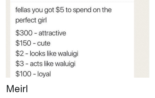 perfect girl: fellas you got $5 to spend on the  perfect girl  $300 attractive  $150 cute  $2 - looks like waluigi  $3- acts like waluigi  $100 - loyal Meirl