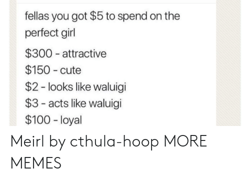 perfect girl: fellas you got $5 to spend on the  perfect girl  $300 attractive  $150 cute  $2 - looks like waluigi  $3- acts like waluigi  $100 - loyal Meirl by cthula-hoop MORE MEMES