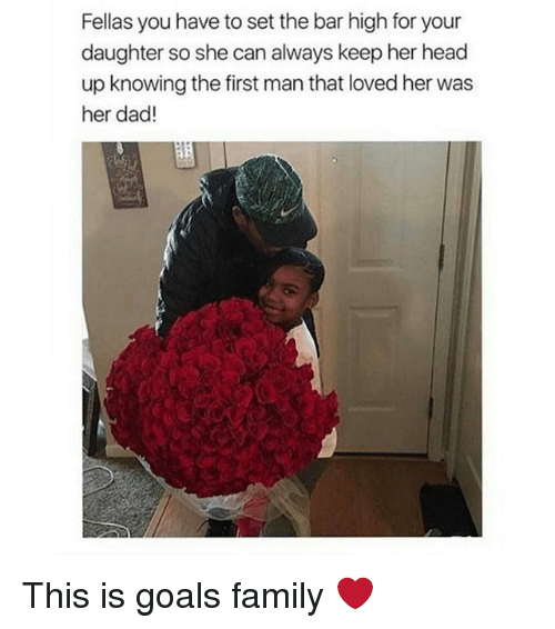 Lovedating: Fellas you have to set the bar high for your  daughter so she can always keep her head  up knowing the first man that loved her was  her dad! This is goals family ❤️