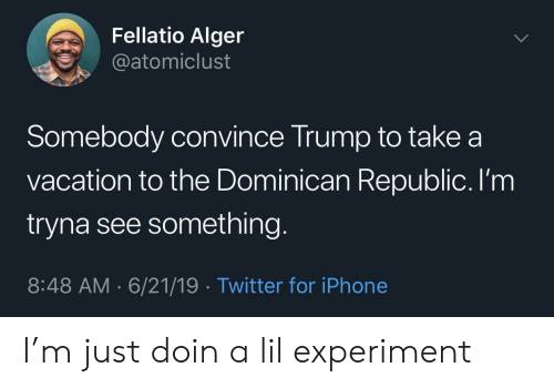 Iphone, Twitter, and Trump: Fellatio Alger  @atomiclust  Somebody convince Trump to take a  vacation to the Dominican Republic. I'm  tryna see something.  8:48 AM 6/21/19 Twitter for iPhone I'm just doin a lil experiment