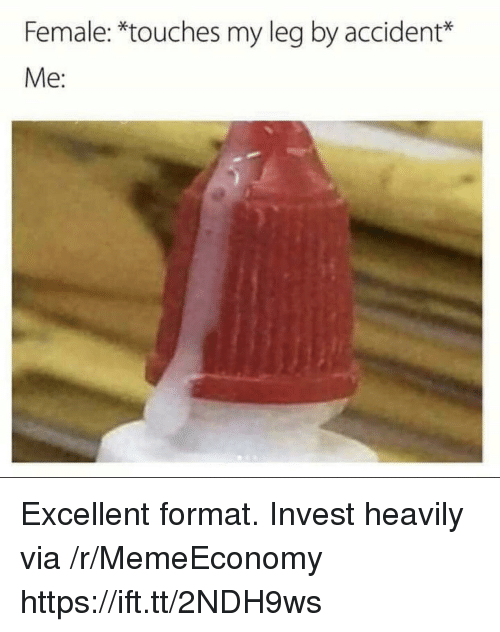 Invest, Via, and Format: Female: *touches my leg by accident*  Me: Excellent format. Invest heavily via /r/MemeEconomy https://ift.tt/2NDH9ws