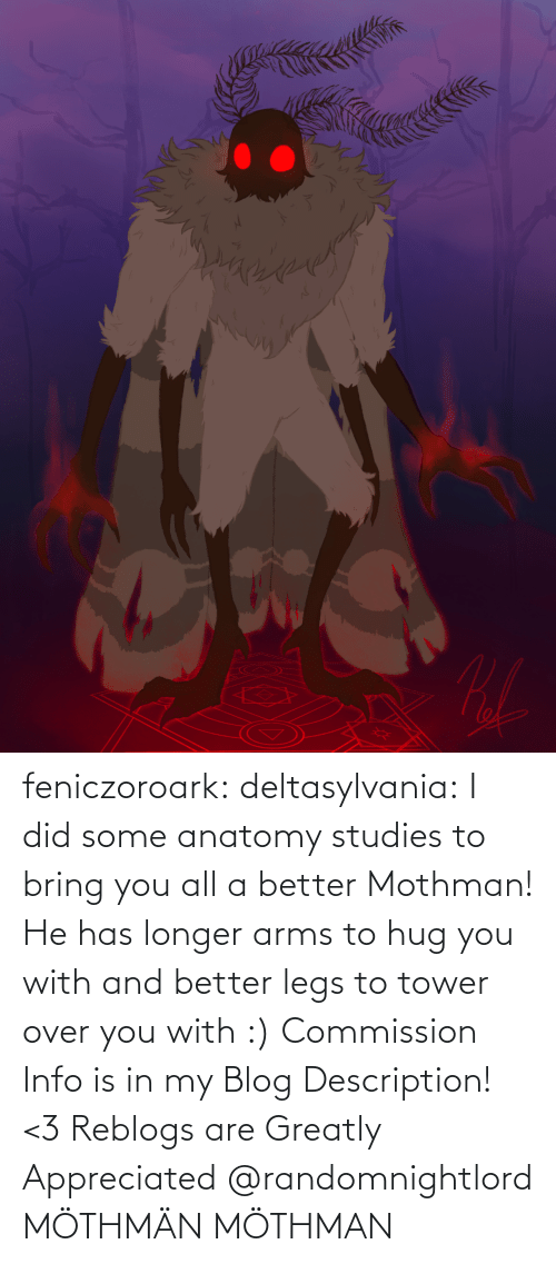 arms: feniczoroark:  deltasylvania:  I did some anatomy studies to bring you all a better Mothman! He has longer arms to hug you with and better legs to tower over you with :) Commission Info is in my Blog Description! <3 Reblogs are Greatly Appreciated    @randomnightlord MÖTHMÄN   MÖTHMAN