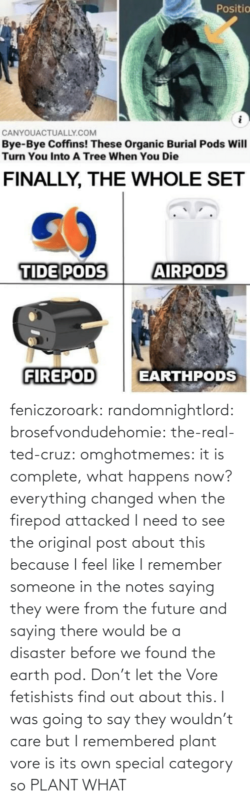 Find Out: feniczoroark:  randomnightlord:  brosefvondudehomie: the-real-ted-cruz:  omghotmemes: it is complete, what happens now? everything changed when the firepod attacked    I need to see the original post about this because I feel like I remember someone in the notes saying they were from the future and saying there would be a disaster before we found the earth pod.    Don't let the Vore fetishists find out about this.    I was going to say they wouldn't care but I remembered plant vore is its own special category so   PLANT WHAT