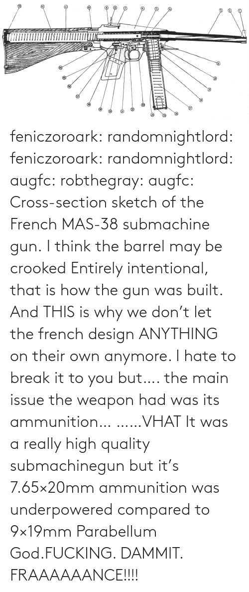 quote: feniczoroark:  randomnightlord:  feniczoroark:  randomnightlord:  augfc: robthegray:  augfc:  Cross-section sketch of the French MAS-38 submachine gun.   I think the barrel may be crooked  Entirely intentional, that is how the gun was built.    And THIS is why we don't let the french design ANYTHING on their own anymore.    I hate to break it to you but…. the main issue the weapon had was its ammunition…   ……VHAT   It was a really high quality submachinegun but it's 7.65×20mm ammunition was underpowered compared to 9×19mm Parabellum   God.FUCKING. DAMMIT. FRAAAAAANCE!!!!