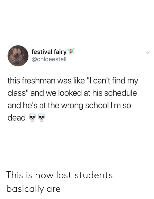 "School, Lost, and Schedule: festival fairy  @chloeestell  this freshman was like ""I can't find my  class"" and we looked at his schedule  and he's at the wrong school I'm so  dead This is how lost students basically are"