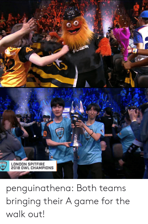 Tumblr, Blog, and Game: Fi  LONDON SPITFIRE  2018 0WL CHAMPIONS penguinathena:  Both teams bringing their A game for the walk out!