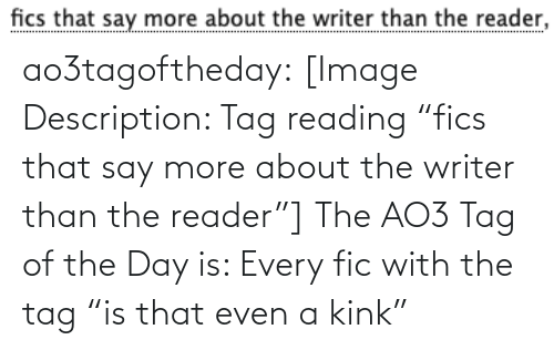 "Target, Tumblr, and Blog: fics that say more about the writer than the reader, ao3tagoftheday:  [Image Description: Tag reading ""fics that say more about the writer than the reader""]  The AO3 Tag of the Day is: Every fic with the tag ""is that even a kink"""