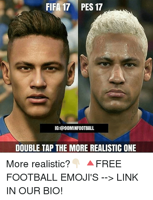 Fifa 17: FIFA 17 PES 17  IG: @9OMINFOOTBALL  DOUBLE TAP THE MORE REALISTIC ONE More realistic?👇🏻 🔺FREE FOOTBALL EMOJI'S --> LINK IN OUR BIO!