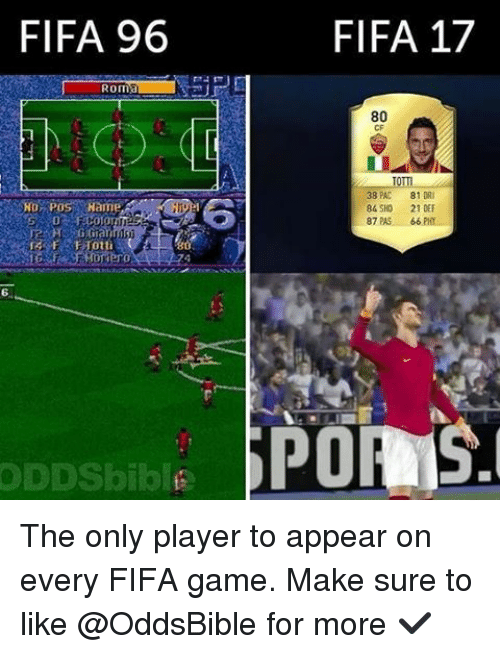 Fifa 17: FIFA 96  ROma  Hog Pos Hame,  ODDSbiblise  FIFA 17  80  CF  81 DR  84 SHO  21 DEF  87 PAS  66  PORAS. The only player to appear on every FIFA game. Make sure to like @OddsBible for more ✔️